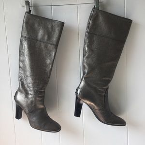 TODS Pewter Leather Boots size 8.5